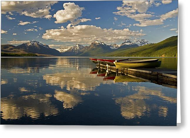 Boats At Lake Mcdonald Greeting Card