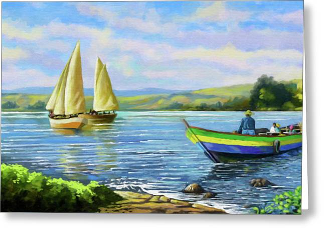 Greeting Card featuring the painting Boats At Lake Victoria by Anthony Mwangi