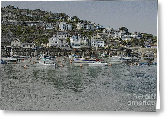 Greeting Card featuring the photograph Boats At Looe by Brian Roscorla