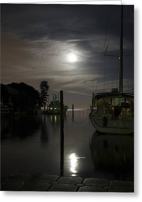 Boats At Moon Rise Greeting Card