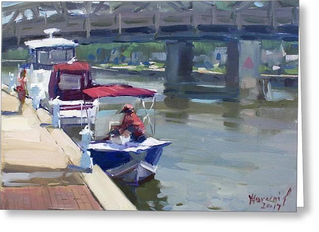 Boats At North Tonawanda Canal Greeting Card