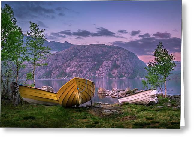 Boats At Regnarvatnet Lake Greeting Card