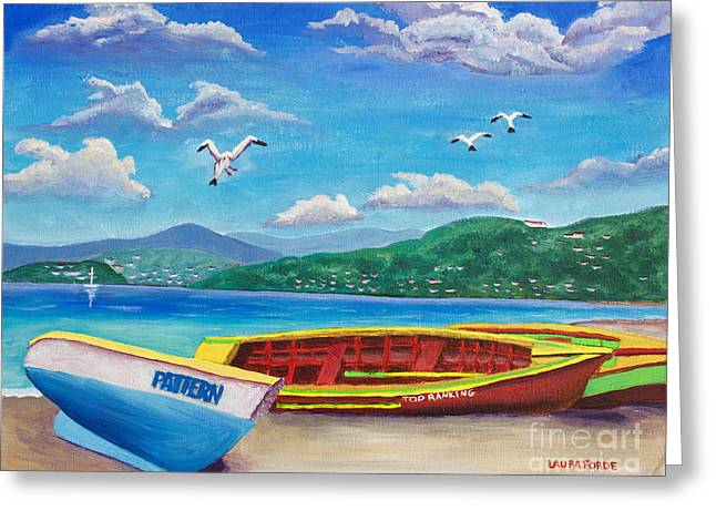 Boats At Rest Greeting Card by Laura Forde