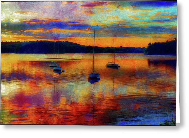 Boats At Sunset - Paint Edition Greeting Card by Lilia D