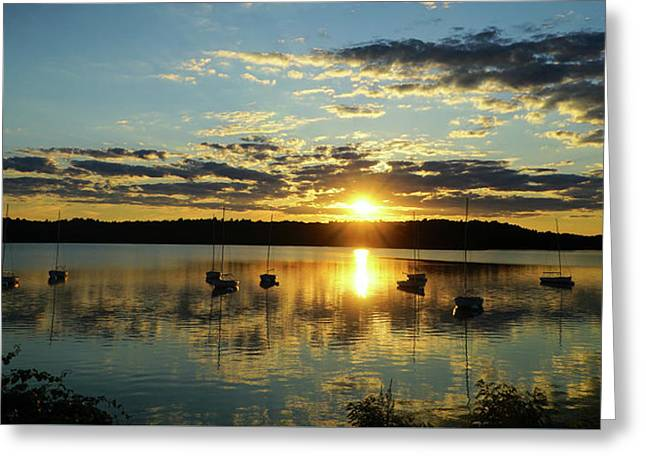 Boats At Sunset Panoramic Greeting Card by Lilia D