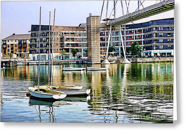 Greeting Card featuring the photograph Boats Becalmed Rvd by Jack Torcello