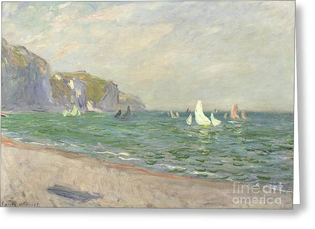 Cliff Paintings Greeting Cards - Boats below the Cliffs at Pourville Greeting Card by Claude Monet