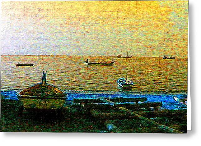 Boats By The Arabian Sea Greeting Card by Padamvir Singh