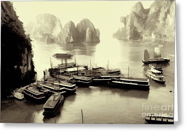Boats Dock For Sung Sot Cave  Greeting Card by Chuck Kuhn