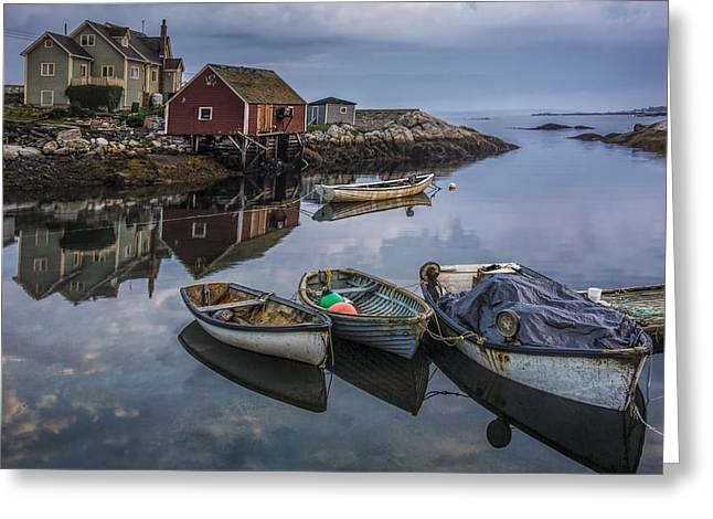 Boats Docked In The Harbor At Peggy's Cove Greeting Card by Randall Nyhof