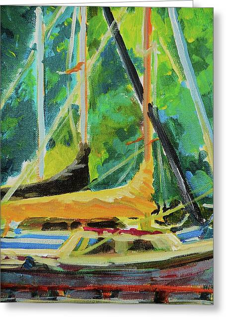 Boats Docked In The Morning Greeting Card by Margaret  Plumb
