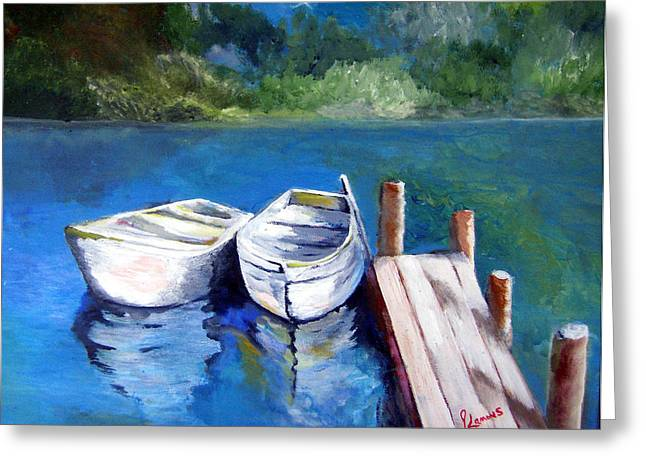 Boats Docked Greeting Card by Julie Lamons