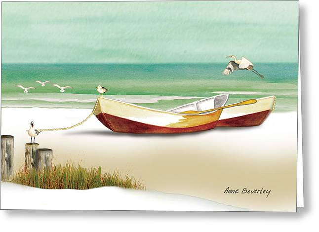 Greeting Card featuring the painting Boats For Rent by Anne Beverley-Stamps