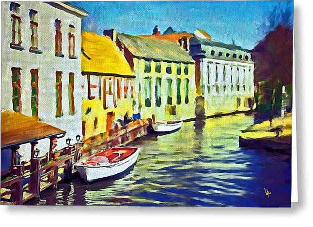 Boat In Channel Little White Boat Small Boat Painting Old Boat Painting Abstract Boat Art Countrysid Greeting Card by Vya Artist