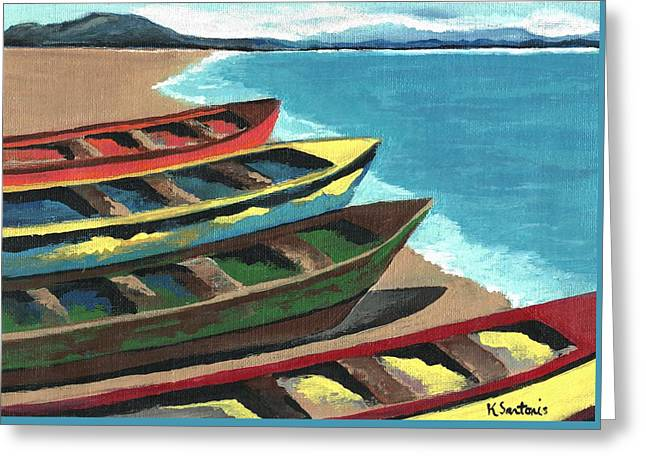 Boats In A Row Greeting Card by Kathleen Sartoris