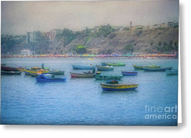 Greeting Card featuring the photograph Boats In Blue Twilight - Lima, Peru by Mary Machare