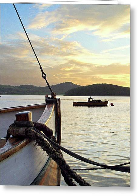 Wooden Ship Greeting Cards - Boats in Hafrsfjord Greeting Card by Helene Sobol