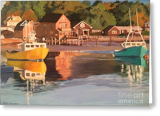 Boats In Kennebunkport Harbor Greeting Card