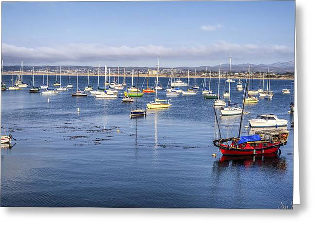 Boats In Monterey Bay Greeting Card by Joseph S Giacalone