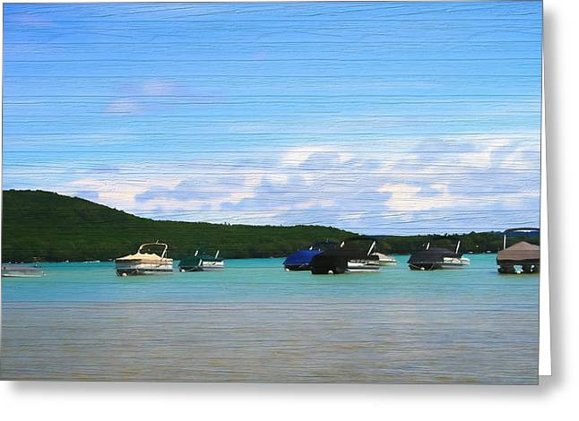 Boats In Sleeping Bear Bay Wood Texture Greeting Card by Dan Sproul