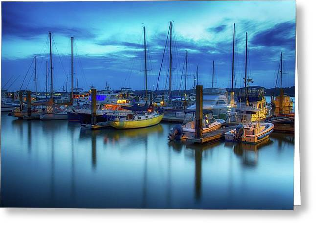Boats In The Bay Greeting Card