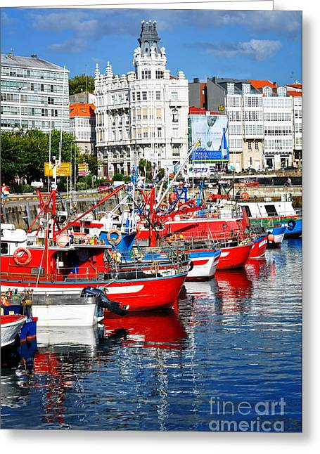 Boats In The Harbor - La Coruna Greeting Card by Mary Machare