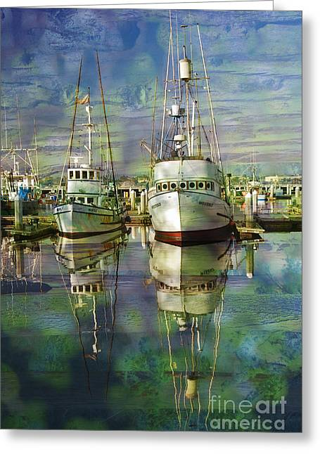 Boats In The Harbor Greeting Card by Ronald Hoggard