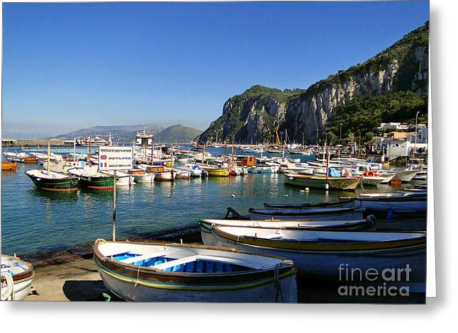 Boats In The Harbor Greeting Card