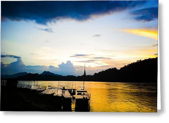 Boats In The Mekong River, Luang Prabang At Sunset Greeting Card