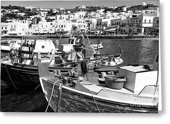 Boats In The Mykonos Harbor Mon Greeting Card