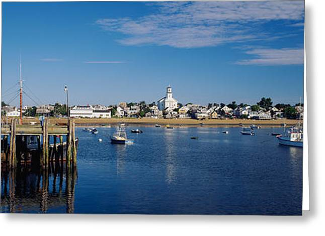 Boats In The Sea, Provincetown, Cape Greeting Card by Panoramic Images