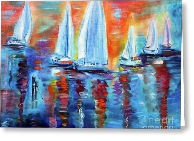 Boats In The Sunset Greeting Card