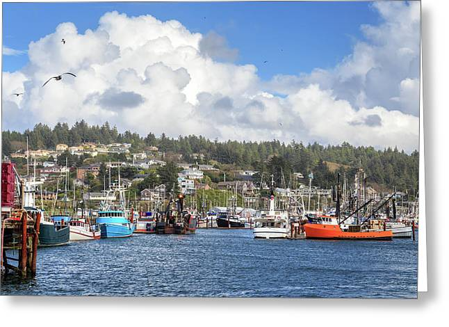 Boats In Yaquina Bay Greeting Card