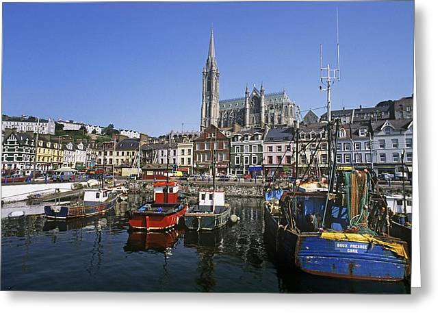 County Cork Greeting Cards - Boats Moored At A Harbor, Cobh, County Greeting Card by The Irish Image Collection