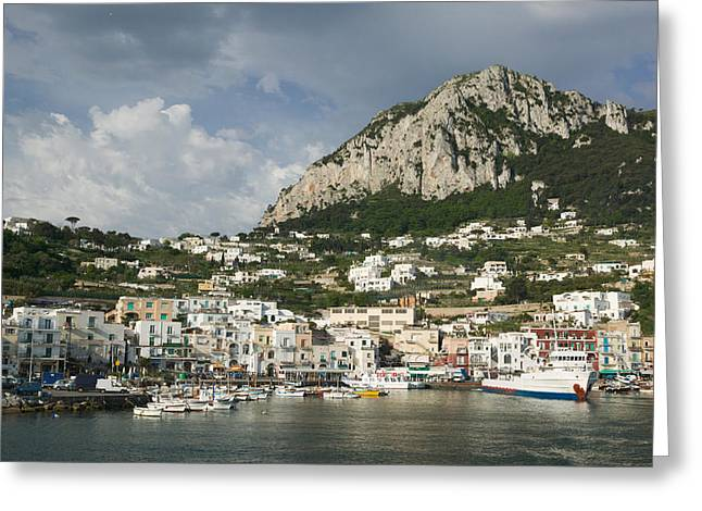 Boats Moored At A Port, Capri, Naples Greeting Card by Panoramic Images