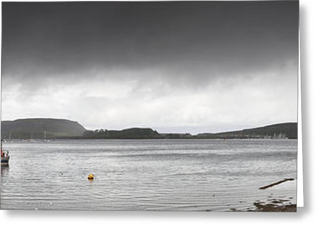 Dark Clouds. Greeting Cards - Boats Moored In The Harbor Oban Greeting Card by John Short