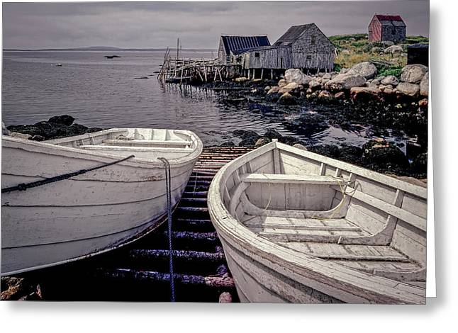 Boats Near Peggys Cove Greeting Card