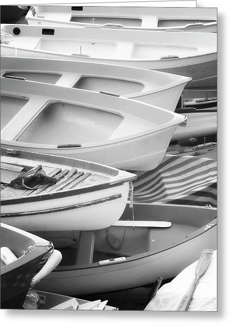 Boats Of Riomaggiore Cinque Terre Bw Greeting Card by Joan Carroll