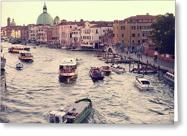 Greeting Card featuring the photograph Boats Of Venice by Brad Scott