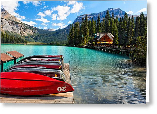 Boats On A Dock  Emerald Lake Canada Greeting Card by George Oze