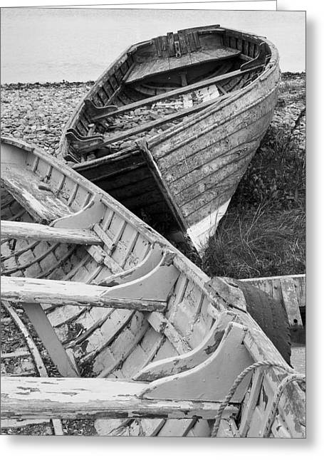 Boats On Beach - Greystones Harbour Greeting Card by Gary Rowe