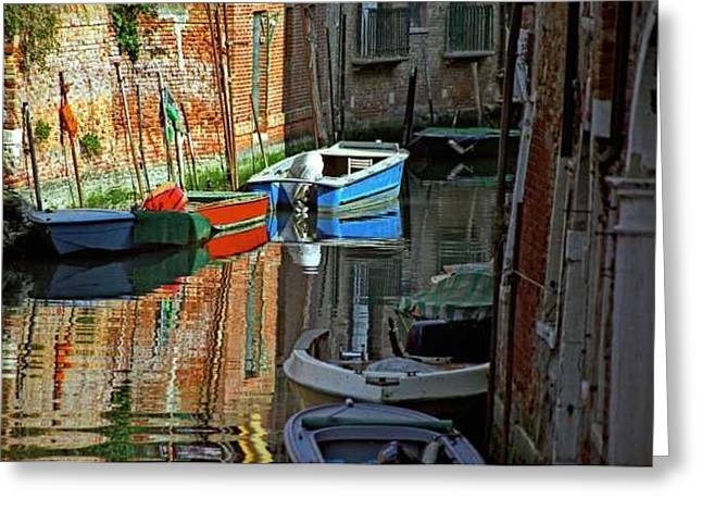 Boats On Canal In Venice Greeting Card by Michael Henderson