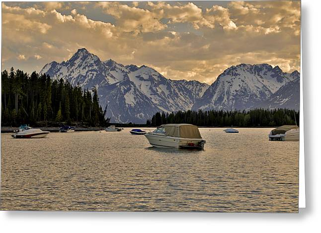 Boats On Jackson Lake At Sunset Greeting Card by Dan Sproul