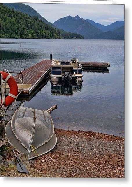 Boats On Lake Crescent Washington Greeting Card by Dan Sproul