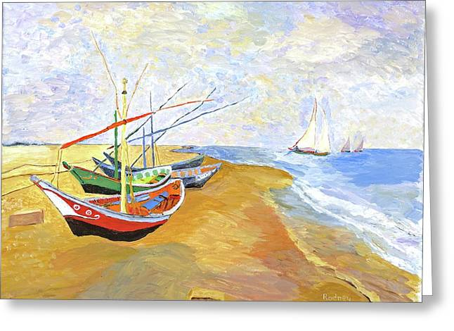 Boats On The Beach At Saintes-maries After Van Gogh Greeting Card by Rodney Campbell