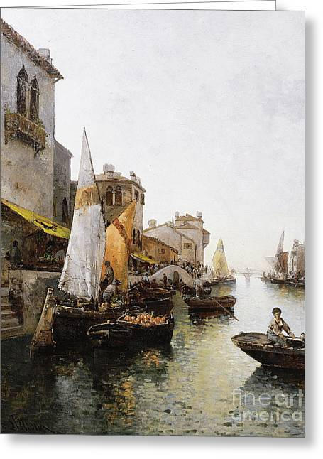 Boats On The Canal Greeting Card by Leo von Littrow