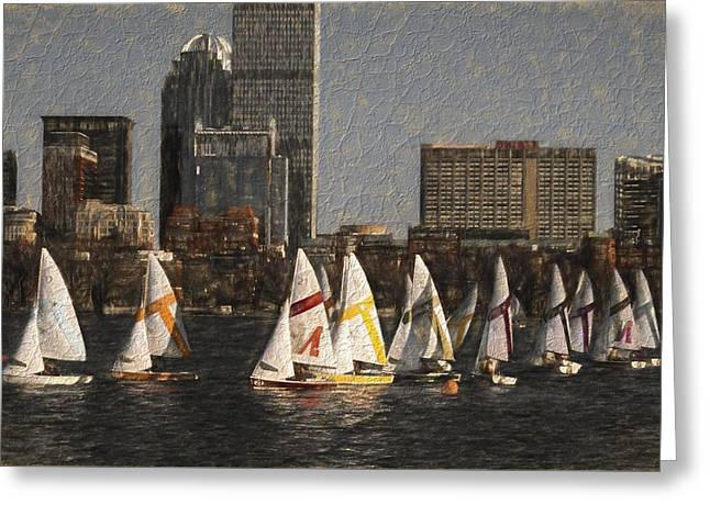 Boats On The Charles River Boston Ma Greeting Card