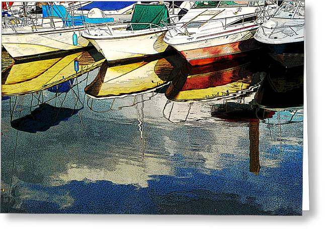 Boats Reflected - Poster     1st Place Award At Uconn Art Show  Greeting Card