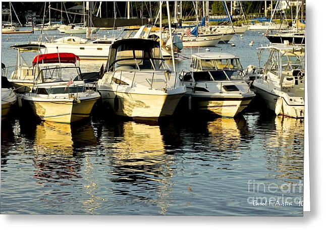 Boats Reflected Greeting Card by Carol F Austin