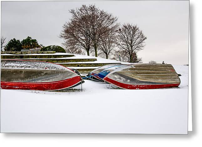 Boats Waiting On Spring Greeting Card